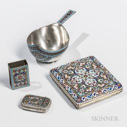 Four Pieces of Continental Silver and Enamel Tableware