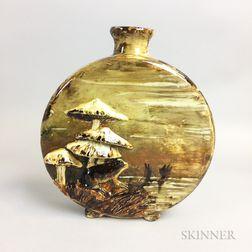 Albert R. Valentein (1862-1925) Barbotine Frog and Mushroom Vase
