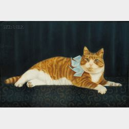 Attributed to Harriet Morton Holmes (American, 1876-1967)      Portrait of an Orange Tabby Cat