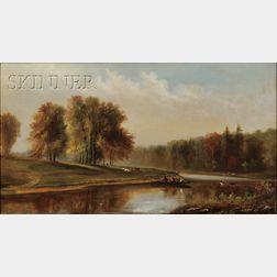 Wesley Elbridge Webber (American, 1841-1914)      Maine View with Hunters