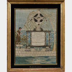 """MARY LAMSON"" Silk Needlework Mourning Picture"