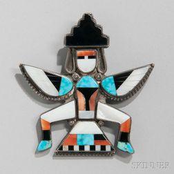Zuni Inlaid Silver Knifewing Man Pin