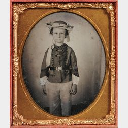 Sixth-plate Daguerreotype of a Standing Boy Wearing a Straw Hat