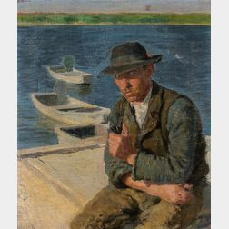 Oszkár Glatz (Hungarian, 1872-1958)      Man with a Pipe Seated Dockside