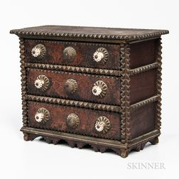 Miniature Tramp Art Chest of Three Drawers