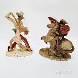 Royal Dux Porcelain Dancers and a Capo di Monte Napoleon and Morengo