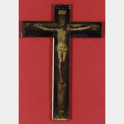 French School, 19th Century  Painted Crucifix