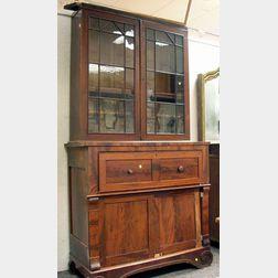 Classical Glazed Mahogany and Mahogany Veneer Butler's Desk/Bookcase.