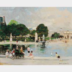 Jules Rene Herve (Franco/American, 1887-1981)      Vue de la Fontaine a Le Jardin des Tuileries