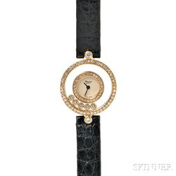 "Lady's 18kt Gold and Diamond ""Happy Diamonds"" Wristwatch, Chopard"