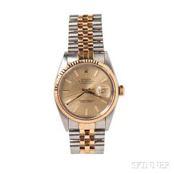 """Gentleman's Stainless Steel and Gold """"Oyster Perpetual Datejust"""" Wristwatch, Rolex"""