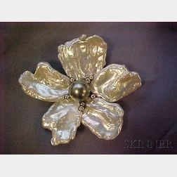 18kt Gold, Baroque Pearl, Tahitian Pearl, and Diamond Flower Brooch, Kai-Yin Lo