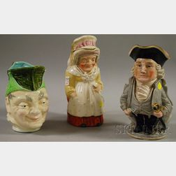 Lenox Hand-painted Porcelain George Washington Toby Jug, a Staffordshire Judy-type Toby Jug with Cover, and a Sarreguemines Characte...