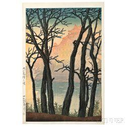 Kawase Hasui (1883-1957), Dawn at Ujo Castle, Okayama