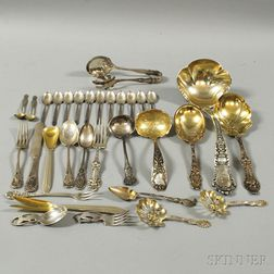 Small Group of Assorted Sterling Silver Flatware Serving Items