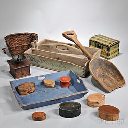 Group of Wooden Household Items