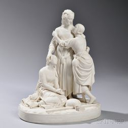 Minton Parian Group Depicting Naomi and Her Daughters-in-Law