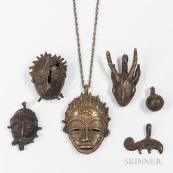 Five Akan Brass Pendants and Maskette