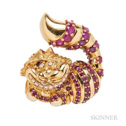 """18kt Gold, Ruby, and Diamond """"Cheshire Cat"""" Brooch, Disney"""
