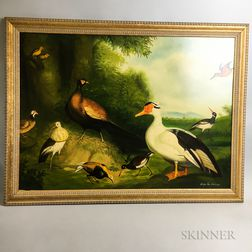 Framed Oil on Canvas Pastiche of Birds