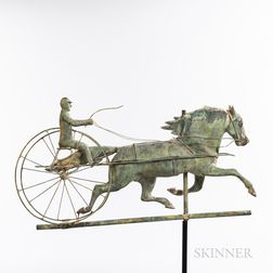 Molded and Gilt Sheet Copper Horse and Sulky Weathervane