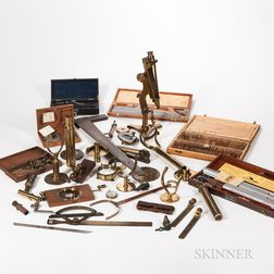 Collection of Scientific Instruments, Parts, and Accessories.     Estimate $100-200