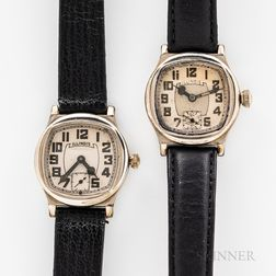 "Two Illinois Watch Co. ""Major"" Wristwatches"