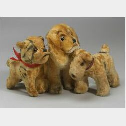 Lot of Five Mohair Dogs