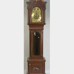 Late Victorian Georgian-style Carved Mahogany Tall Case Chiming Clock