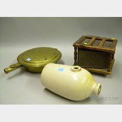 Brass Bedwarmer with Turned-wood Handle, a Wood and Tin Footwarmer, and a Glazed Dorchester Stoneware Footwarme...