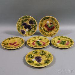 Six Sarreguemines Majolica Fruit Plates