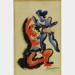 Chaim Gross (American, 1904-1991)      Acrobats.