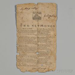 Two New Songs  , 18th Century Broadside.