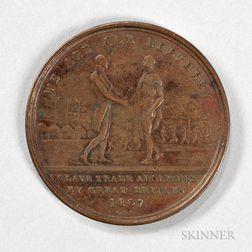 "1814 ""Slave Trade Abolished"" Macaulay and Babington Bronze Token for Sierra Leone"