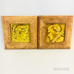 Two Framed Trenton Tile Co. Portrait Tiles