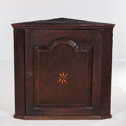 Small Oak Compass Star-inlaid Hanging Corner Cupboard