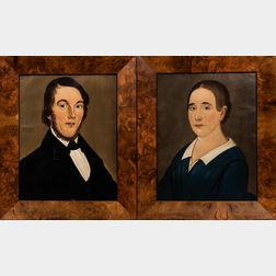 Attributed to George G. Hartwell (Massachusetts, 1815-1901)      Pair of Portraits of a Husband and Wife