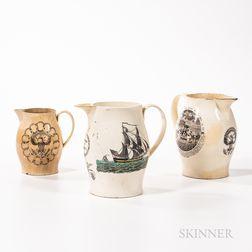 Three Historical Liverpool Transfer-decorated Creamware Jugs