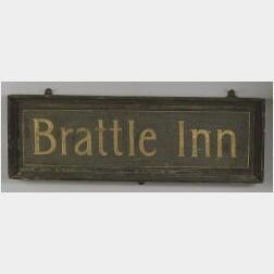 "Painted Tin and Wood ""Brattle Inn"" Double-Sided Trade Sign."