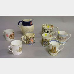 Seven Assorted Commemorative British Monarchy Ceramic Mugs and a Salt Glazed   Pitcher
