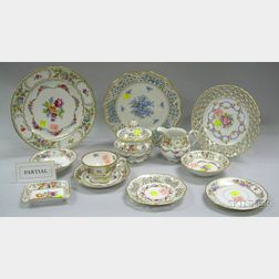 Eighty-three Piece Assembled Schumann Porcelain Partial Dinner Service, a Set of Six German Reticulated Floral ...