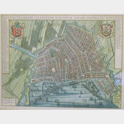 Framed Hand-colored 18th Century Style Map of Amsterdam