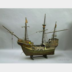 Spanish Galleon-style Votive Wooden Ship Model