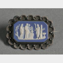 Wedgwood Dark Blue Jasper Dip Brooch