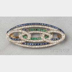 Art Deco Platinum, 18kt Gold, Diamond, and Gem-set Brooch
