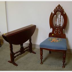 Victorian Needlepoint Upholstered Carved Walnut Hall Chair and a William & Mary Style Mahogany Drop-leaf Gate-l...