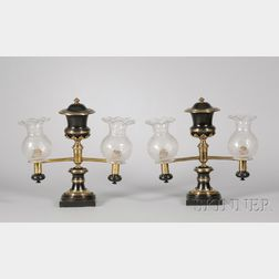 Pair of Empire Part-ebonized Brass Argand Table Lamps with Etched Glass   Shades