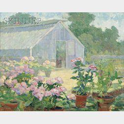 Ida Wells Stroud (American, 1869-1944)      Hydrangeas at the Florist's Place