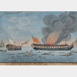 French School, 19th Century      Revolutionary War Battle Between the French Ally Naval Frigate Surveillante
