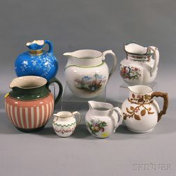 Seven Mostly English Ceramic Pitchers and Creamers